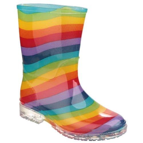 Cotswold PVC Jnr Childrens Wellingtons Rainbow